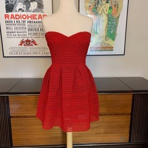 F21 Red Stand Out Fit & Flare Strapless Dress